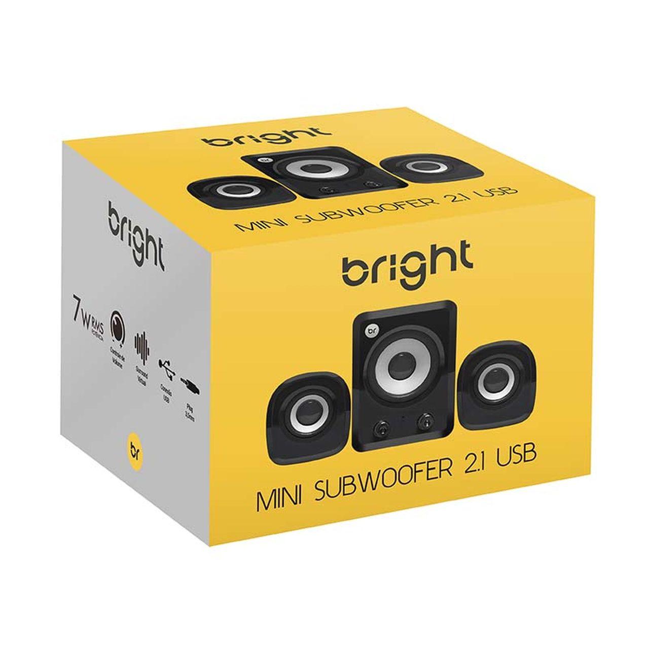 Caixa de Som 2.1 3W com USB e Mini Subwoofer 445 - Bright