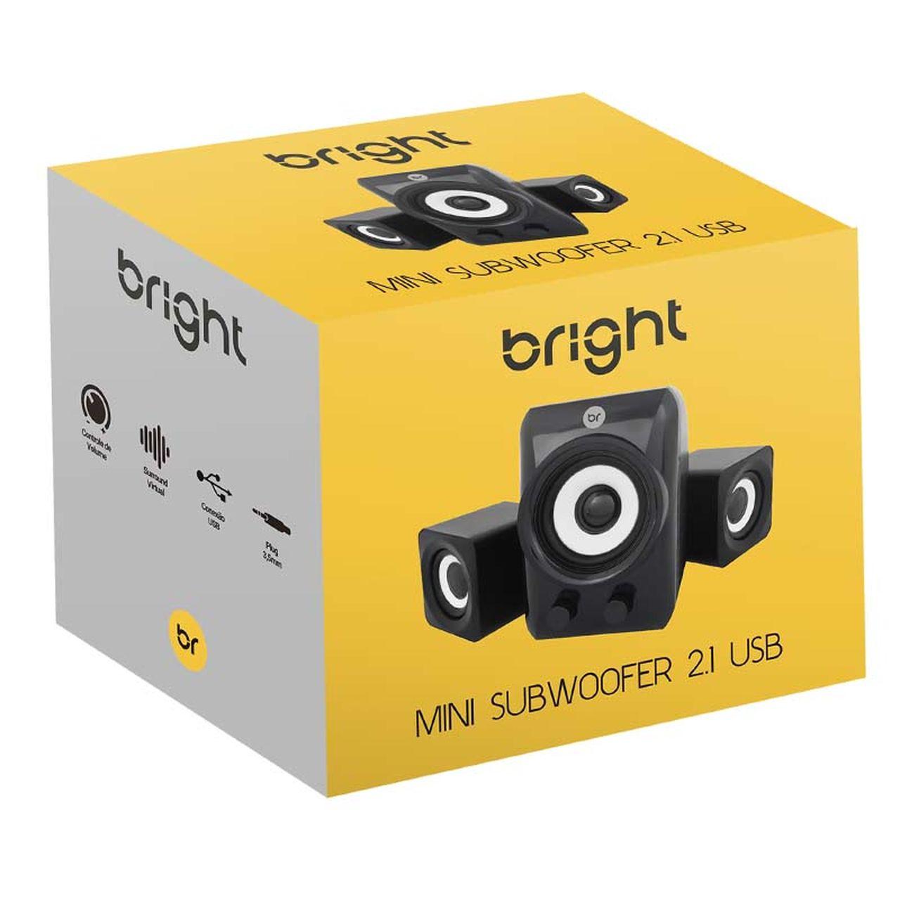 Caixa de Som 2.1 5W com USB e Mini Subwoofer 506 - Bright