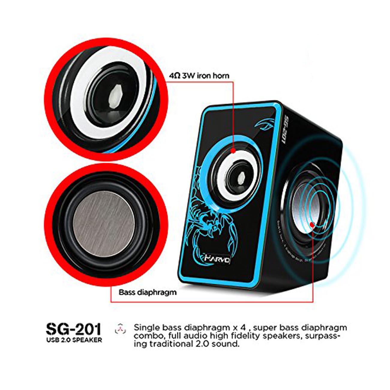 Caixa de Som Gamer P2 Marvo Scorpion Azul Para Pc SG-201