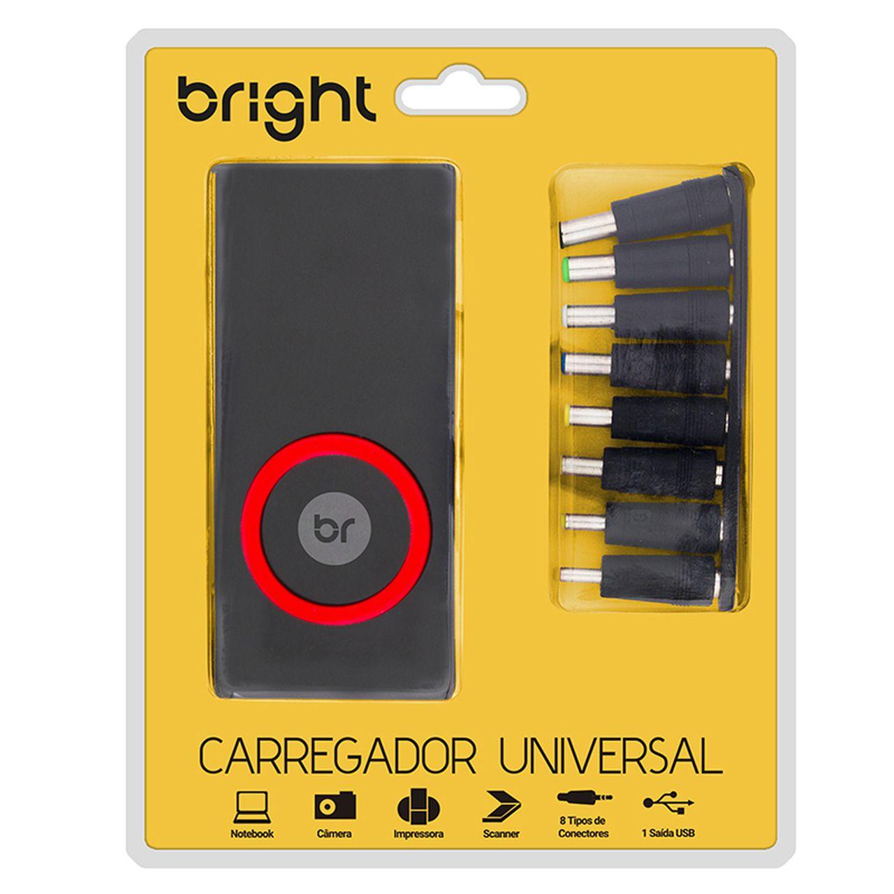 Carregador Universal, 8 conectores, 1 saída USB, com chave seletora de voltagem 167 - Bright