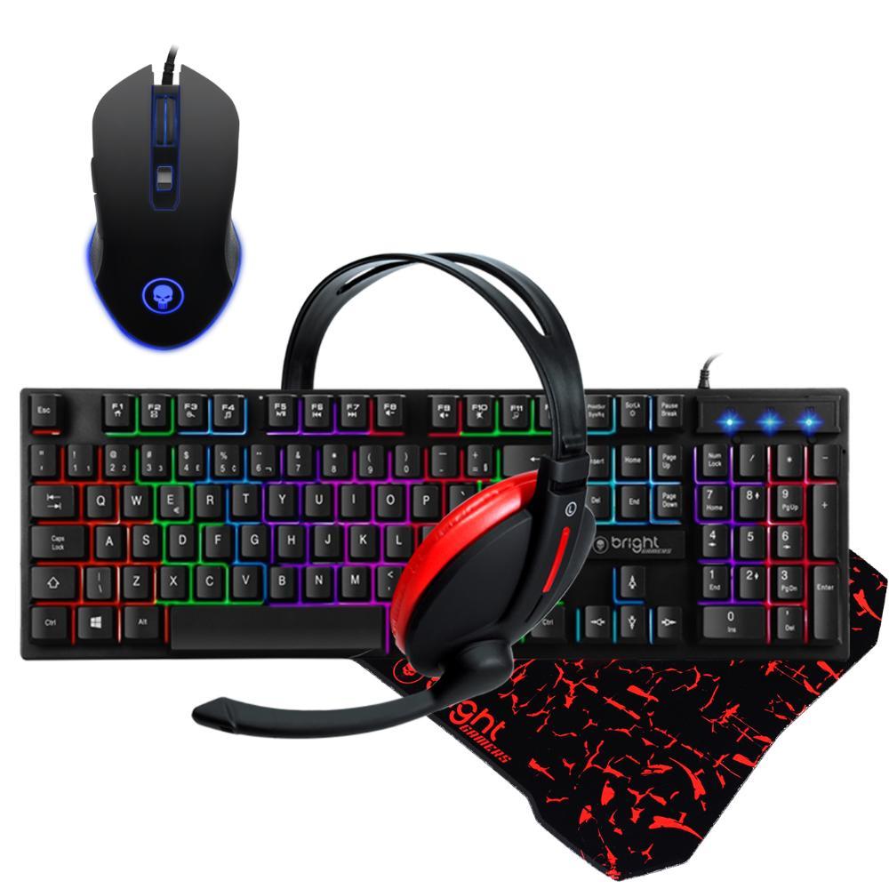 Combo Gamer Teclado e Mouse Gamer com Led Headset e MousePad