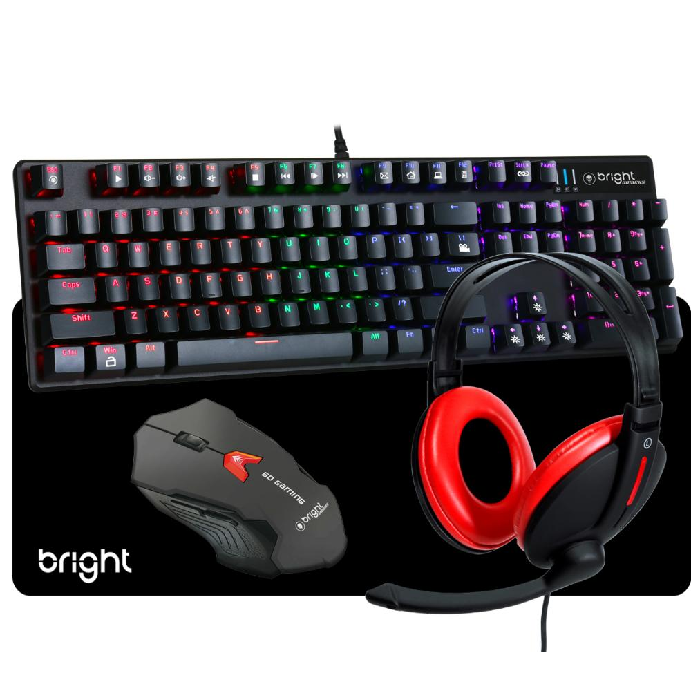 Combo Gamer Teclado Mecânico Mouse Gamer Headset e MousePad