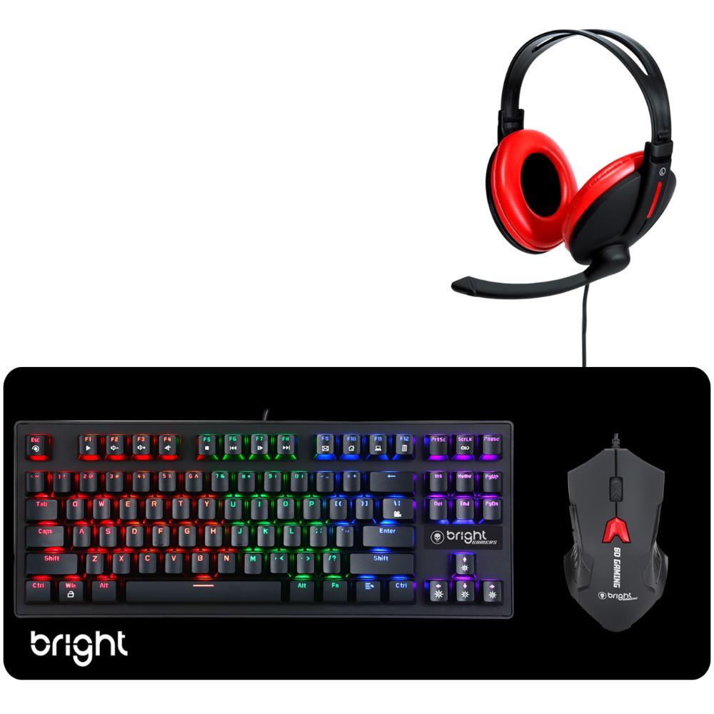 Combo Gamer Teclado Mecânico Mouse Gamer MousePad e Headset