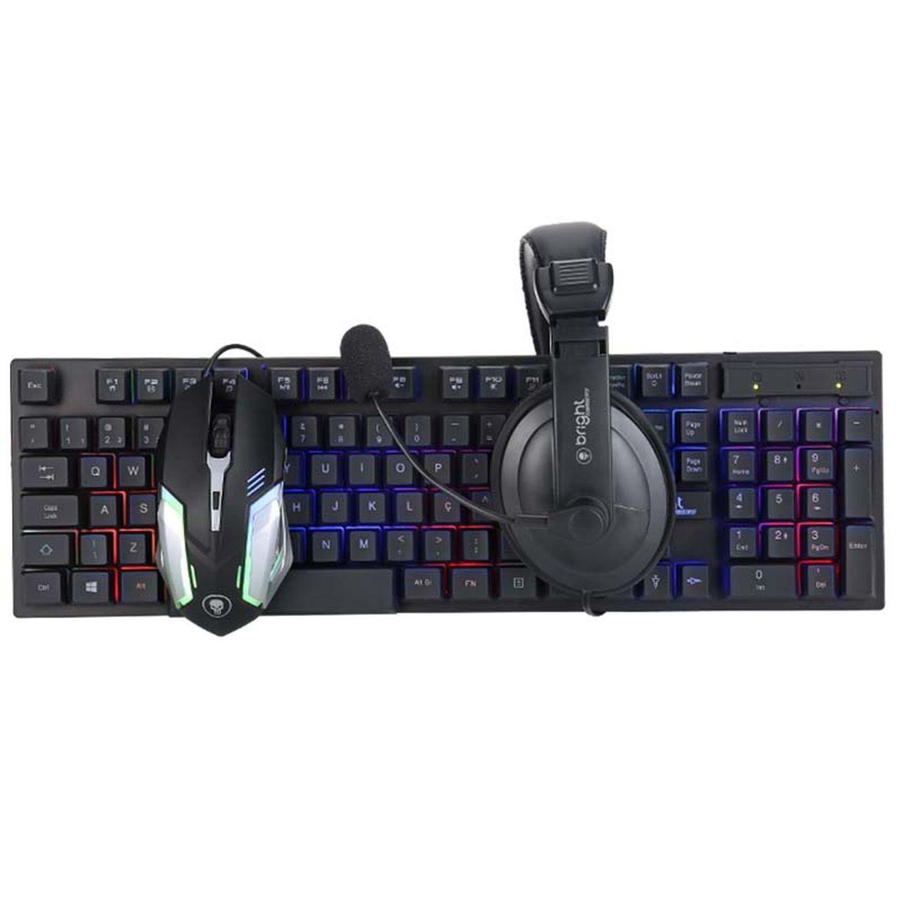 Combo Gamer Teclado Mouse e Fone de Ouvido Headset 543 - Bright
