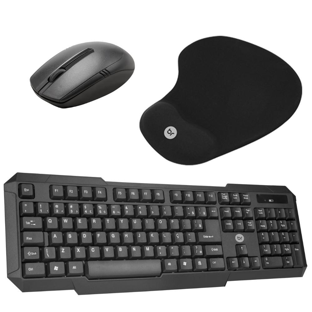 Combo Mouse e Teclado Sem Fio e MousePad Ergonômico Gel  - BRIGHT