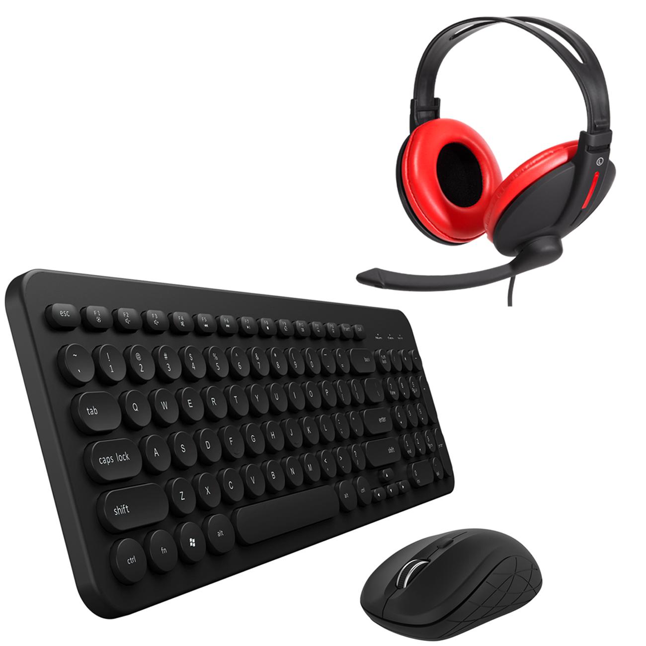 Combo Mouse e Teclado Sem Fio Teclas Redondas e Headset Bass