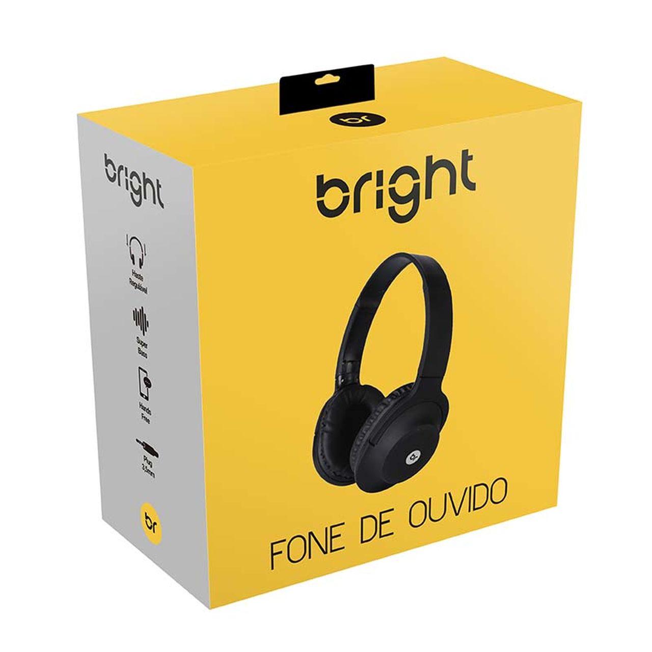 Fone de Ouvido P2 Headphone com Microfone Integrado Preto 463 Bright