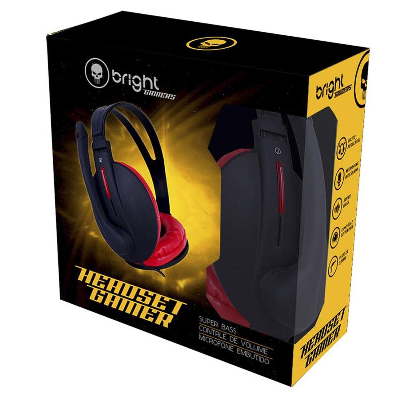 Fone de Ouvido Headset Gamer Super Bass, haste regulável vermelho e preto 206 - Bright