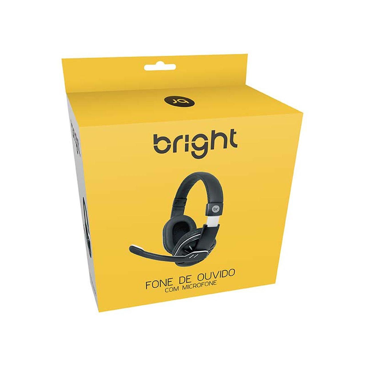 Headset Office Fone de Ouvido P2 Preto e Prata 181 Bright