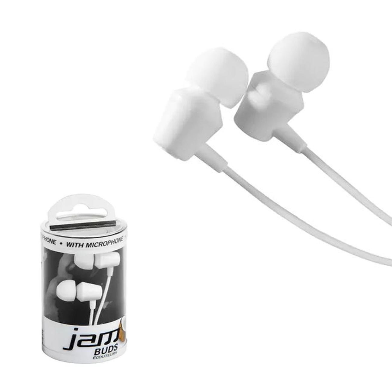 Fone de ouvido intra auricular c/ fio e microfone Jam Branco