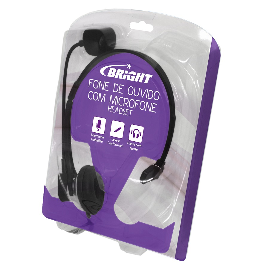 Headset Fone Office Telemarketing com Plug de Telefone RJ11 e Microfone 0069 Bright  - BRIGHT