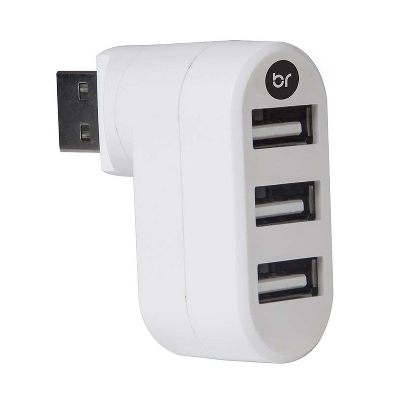 Hub e Carregador USB 2.0 3 portas com plug giratório  335 - Bright