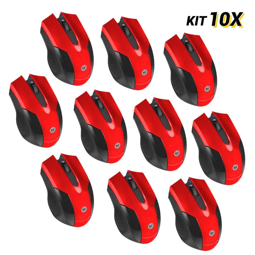 Kit 10 Mouses USB Vermelho com Design Ergonômico Bright 2210