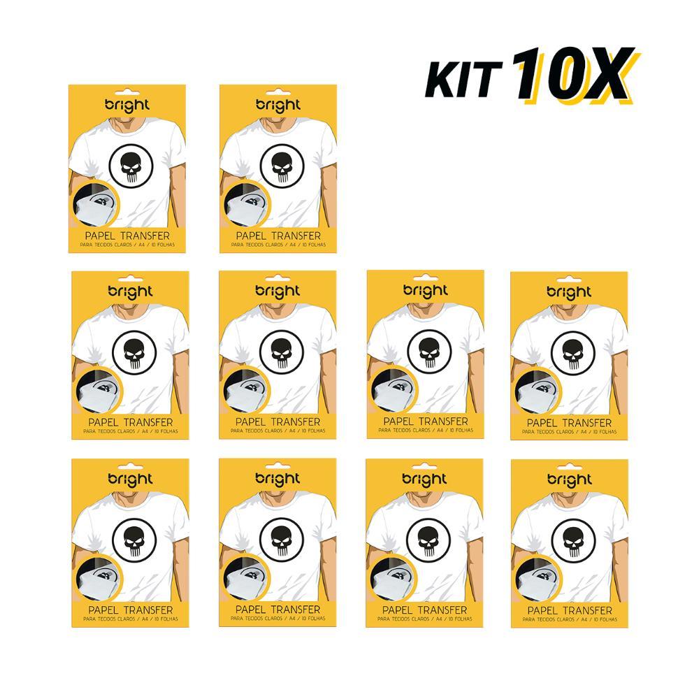 Kit 10 Papel Transfer p/tecido claro c/100 folhas Bright 121  - BRIGHT