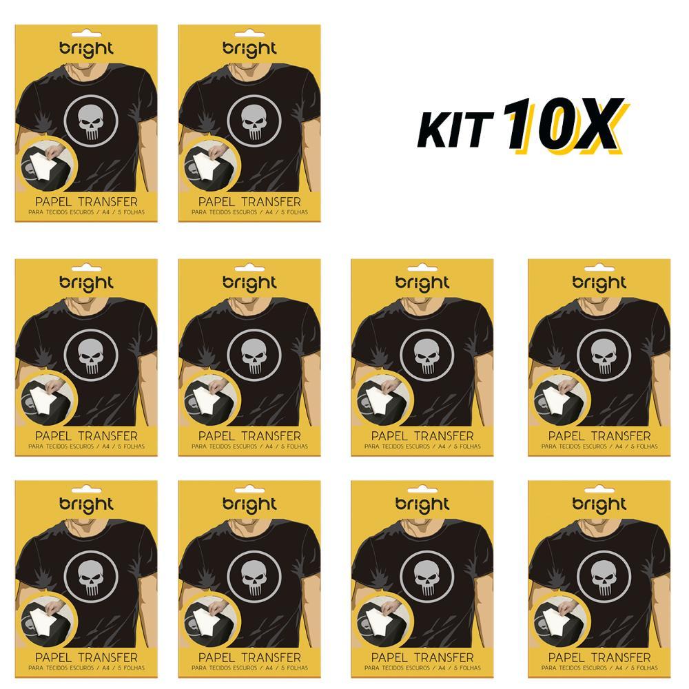 Kit 10 Papel Transfer p/ Tecido Escuro c/50 folhas Bright 20  - BRIGHT