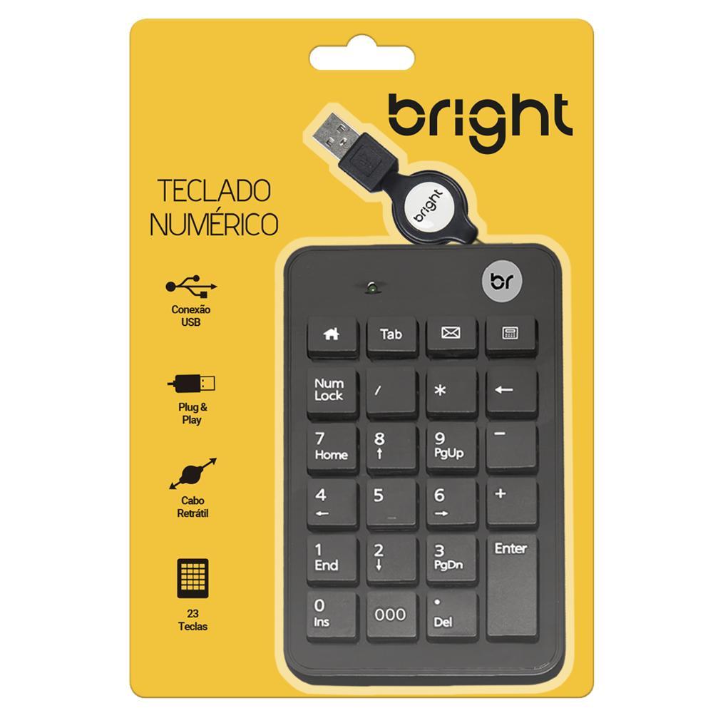 Kit 10 Teclados Numéricos com cabo retrátil USB Preto Bright