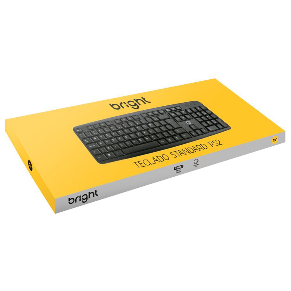 Kit 10 Teclados PS2 Basic Preto Com 104 Teclas ABNT2 Bright