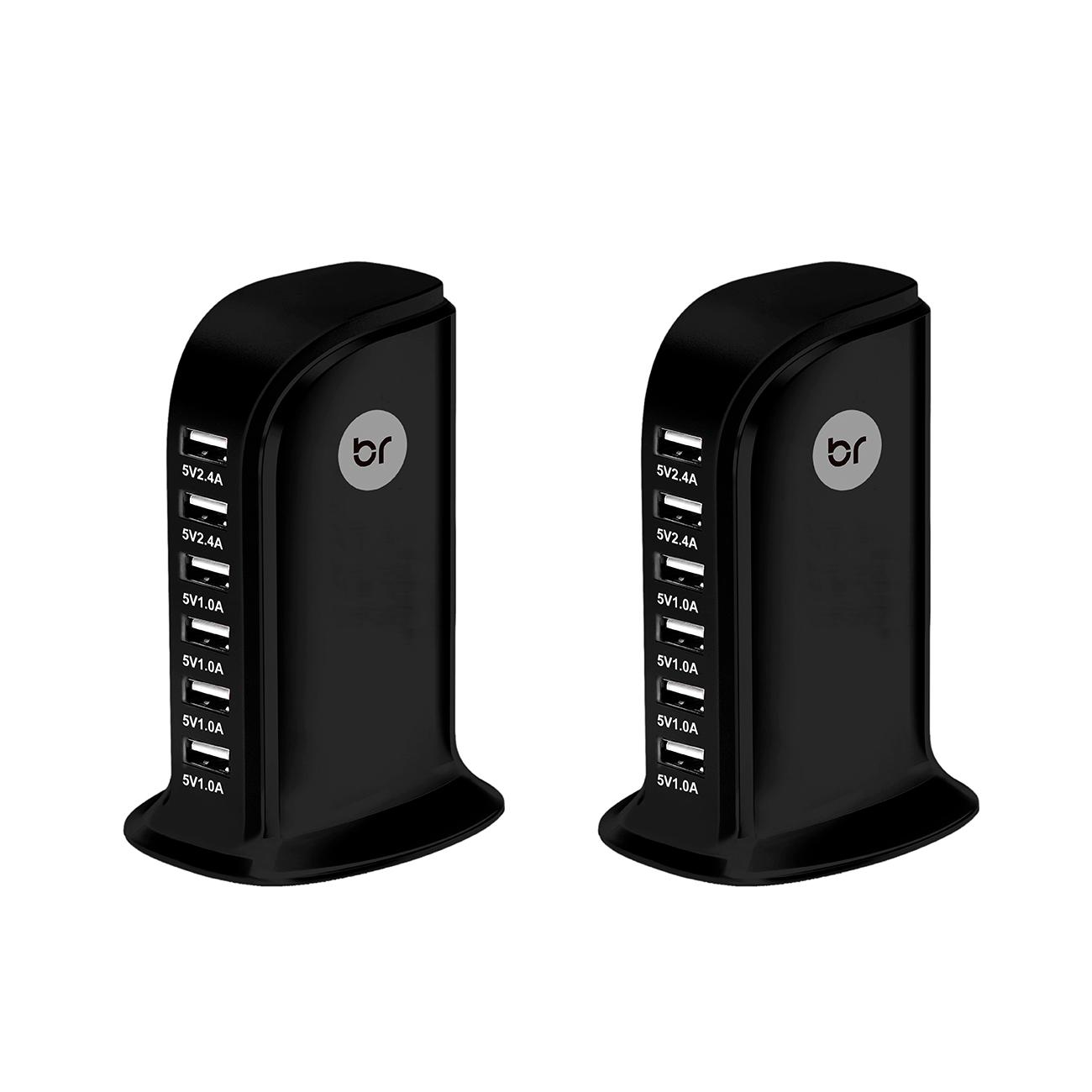 Kit 2 Carregadores de Mesa Torre USB c/ 6 portas 2.4V e 1.0V