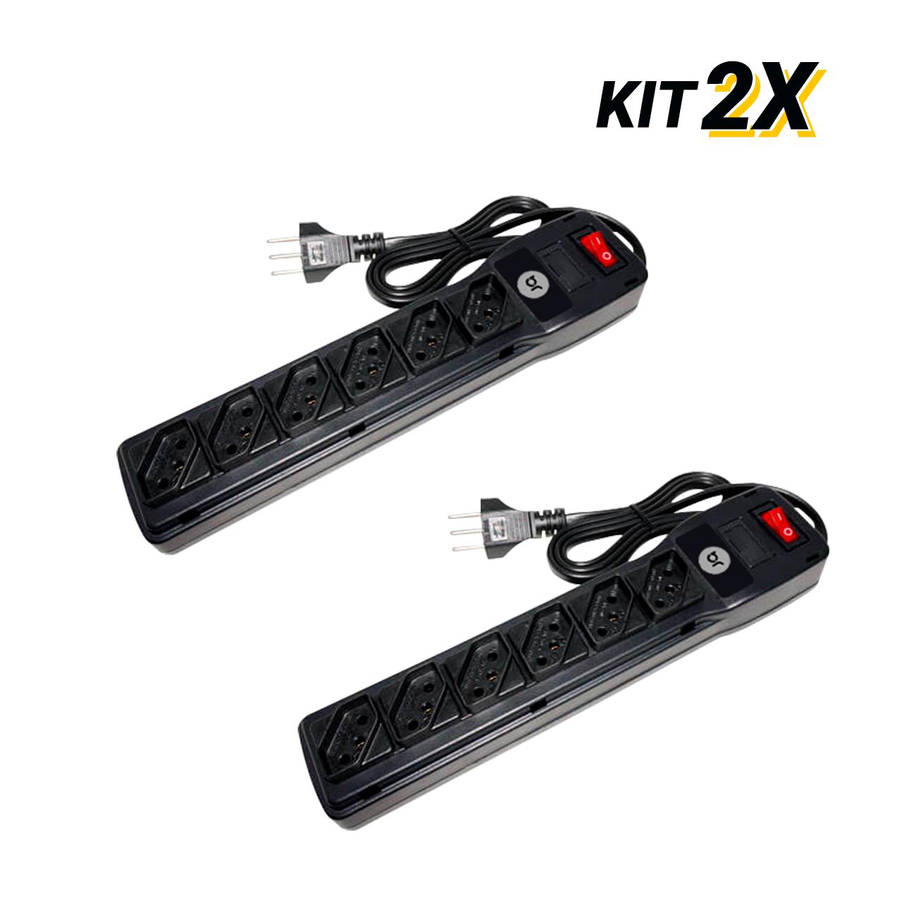 Kit 2 Filtros de Linha com 6 Tomadas e Protetor Eletrônico