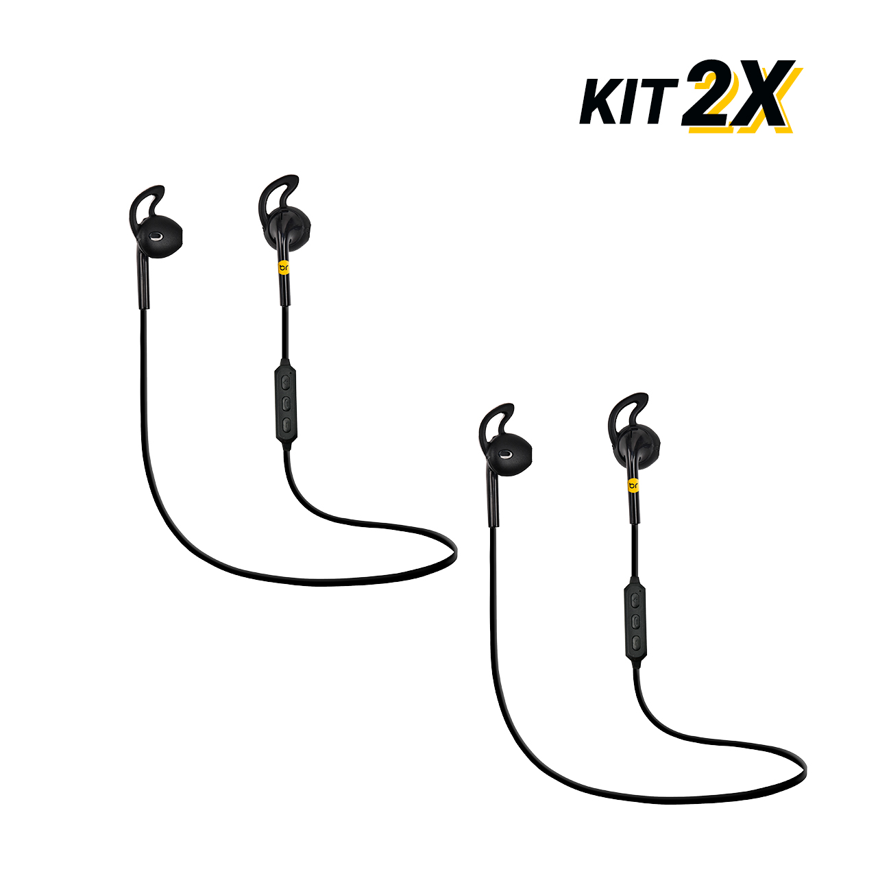 Kit 2 Fones de Ouvido sem fio Bluetooth volume e chamada