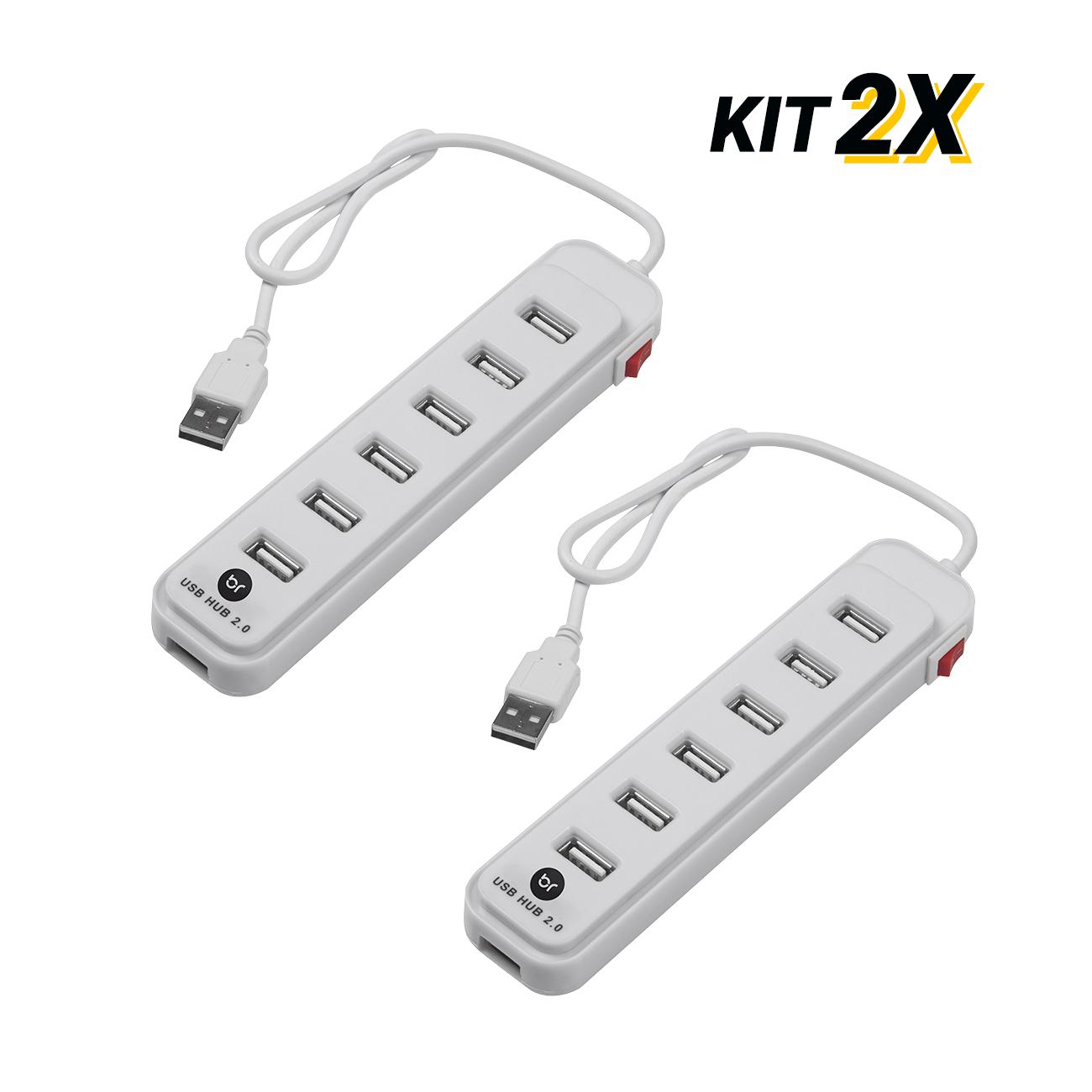 Kit 2 Hubs Usb Extensor c/ 7 Portas Fast 2.0 Carrega Celular