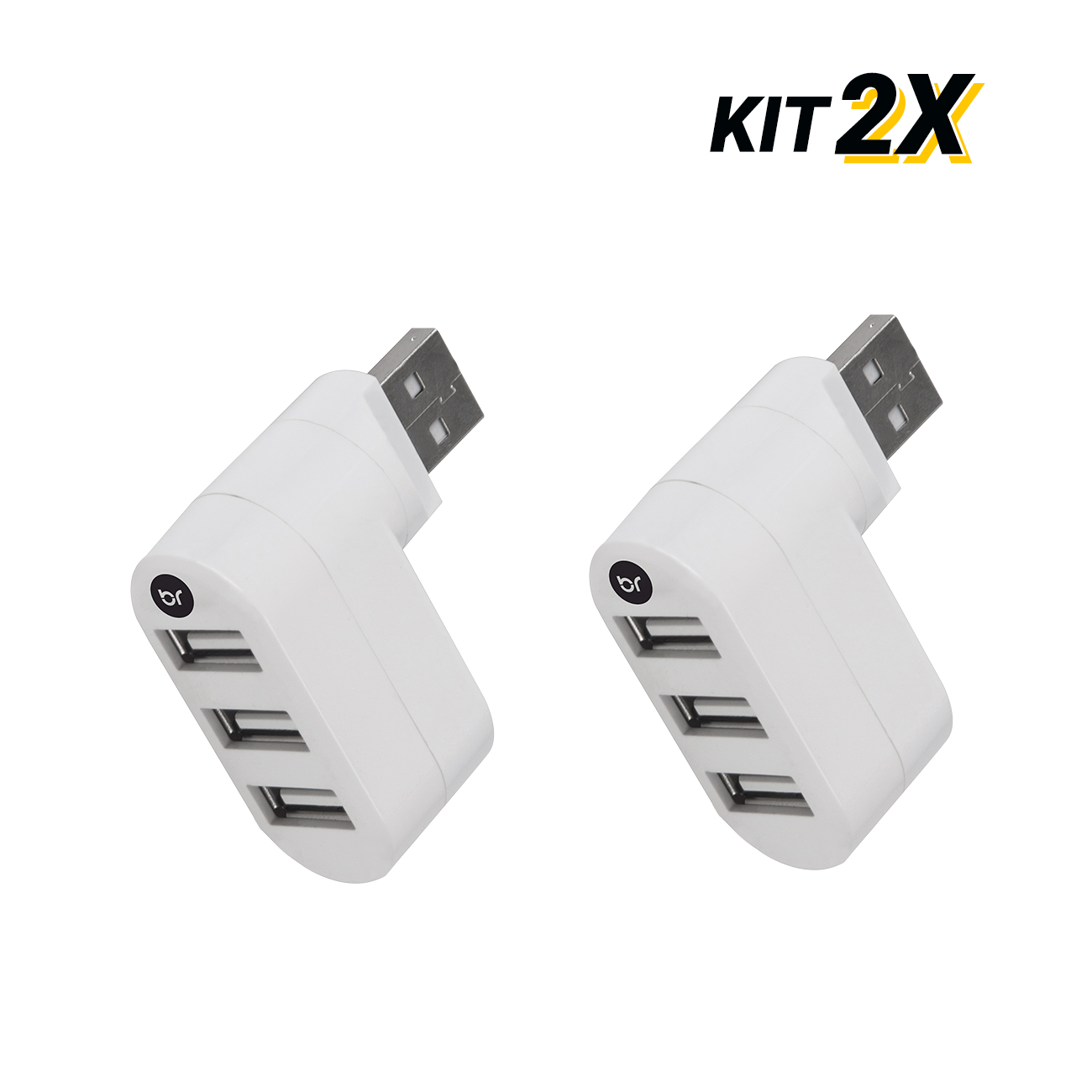 Kit 2 Mini Hub Usb Conector Giratório Com 3 Portas 2.0 Fast