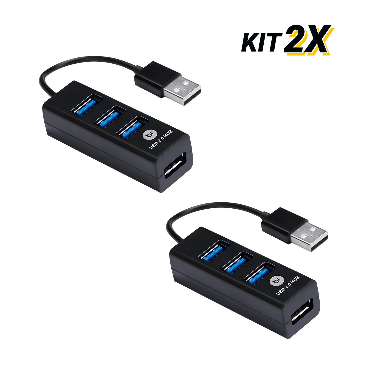 Kit 2 Mini Hubs USB Com 4 Portas 2.0 Fast Carrega Celular  - BRIGHT