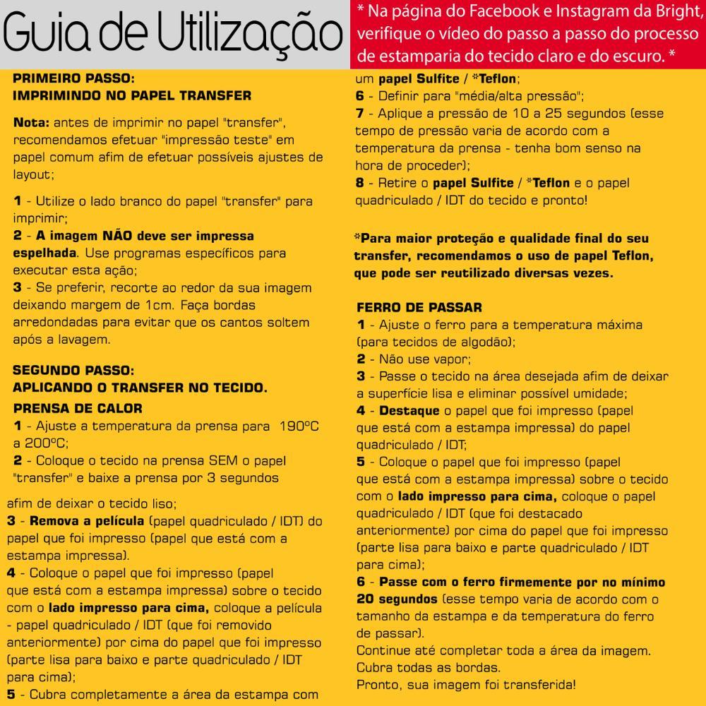 Kit 2 Papel Transfer p/ Tecido Escuro c/ 10 folhas Bright 20