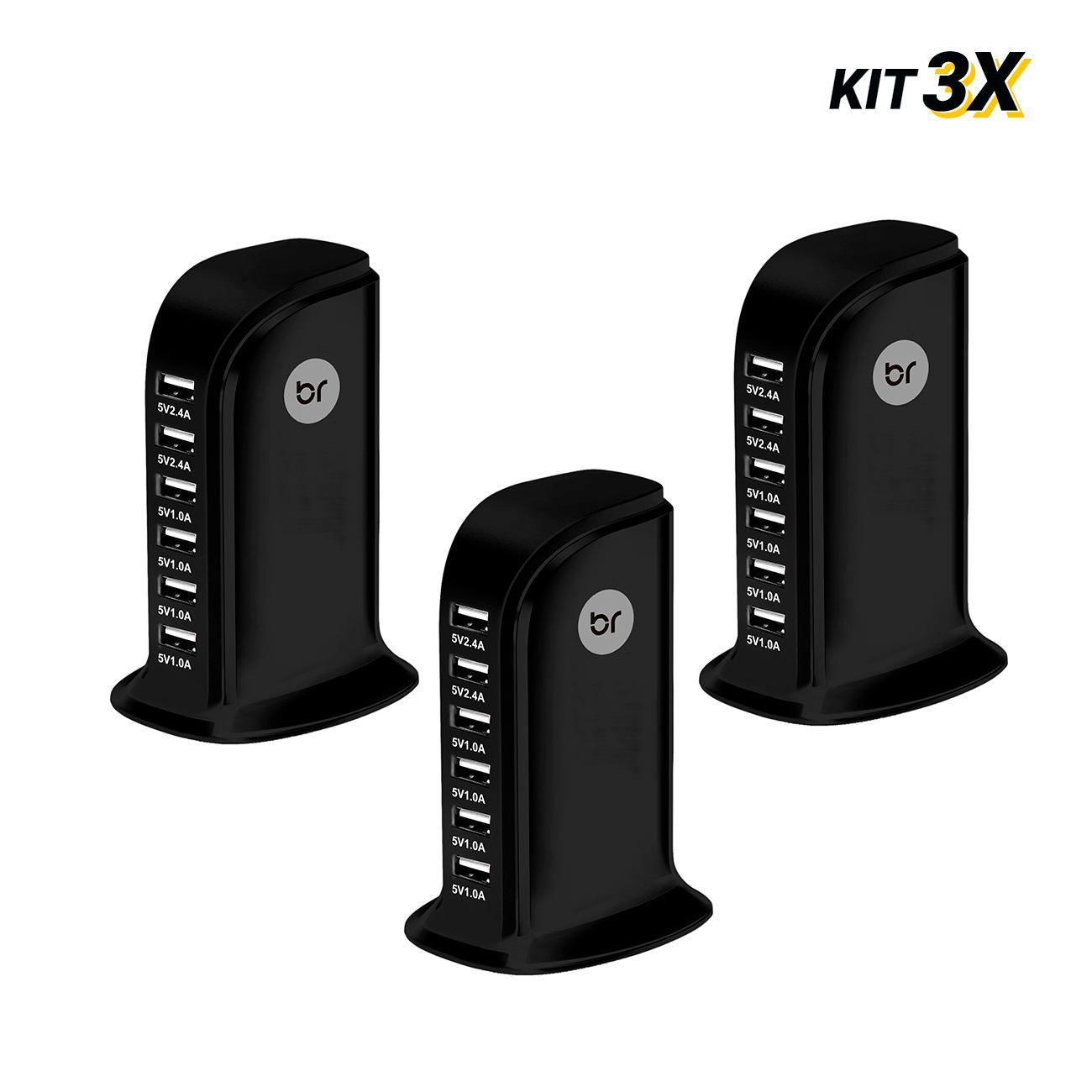 kit 3 Carregadores de Mesa Torre USB c/ 6 portas 2.4V e 1.0V