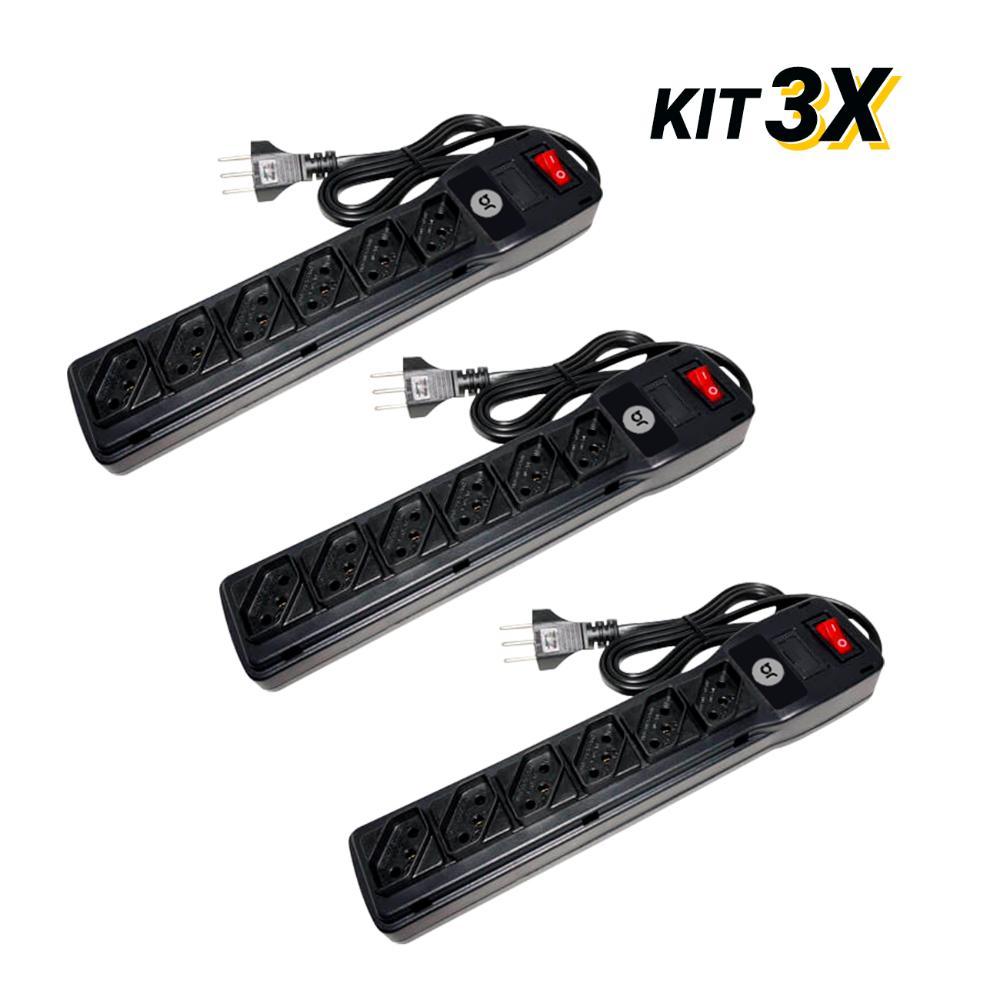 Kit 3 Filtros de Linha com 6 Tomadas e Protetor Eletrônico  - BRIGHT