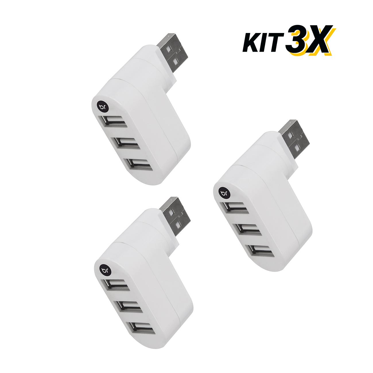 Kit 3 Mini Hub Usb Conector Giratório Com 3 Portas 2.0 Fast