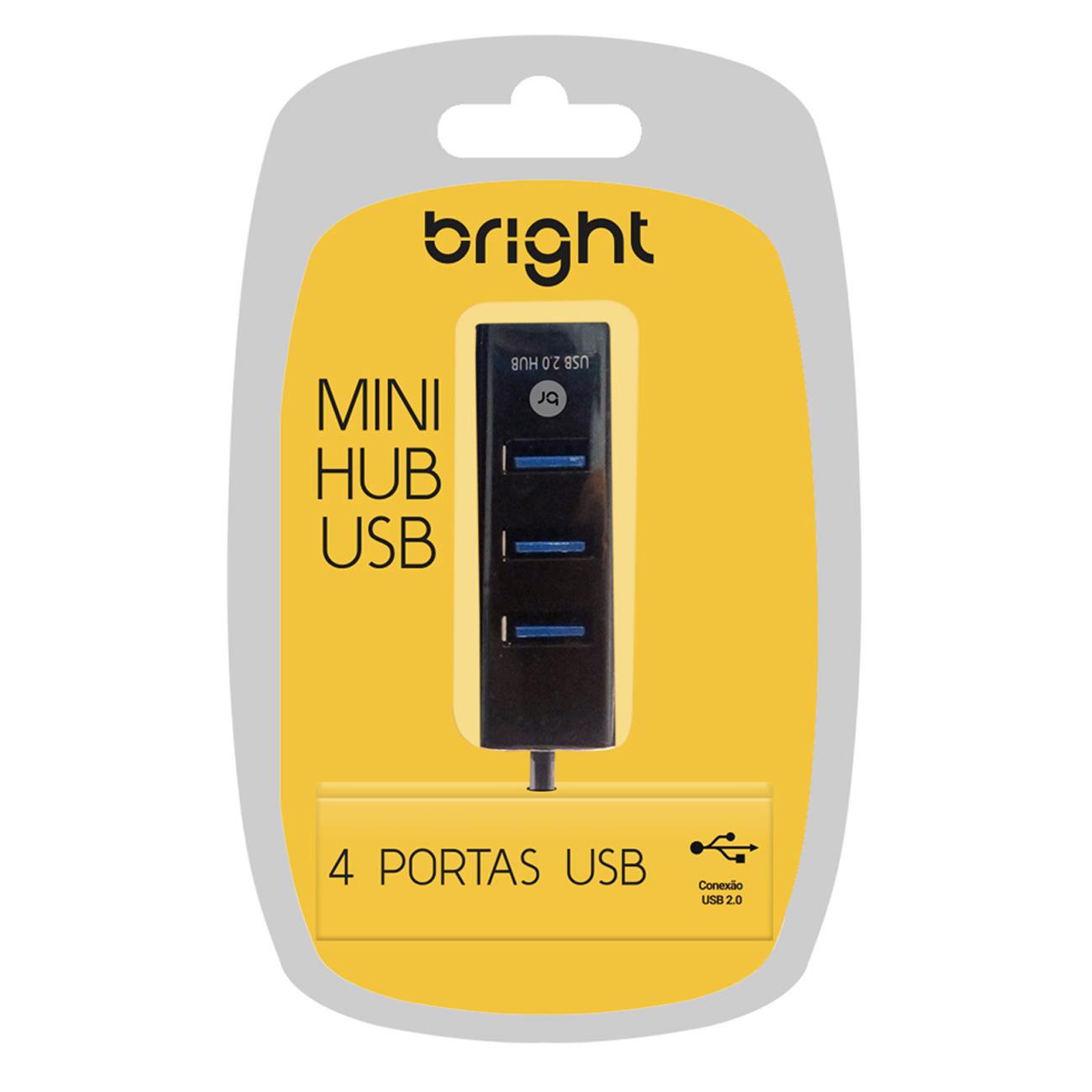 Kit 3 Mini Hubs USB Com 4 Portas 2.0 Fast Carrega Celular  - BRIGHT