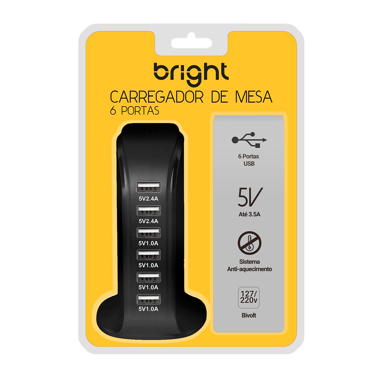 kit 4 Carregadores de Mesa Torre USB c/ 6 portas 2.4V e 1.0V
