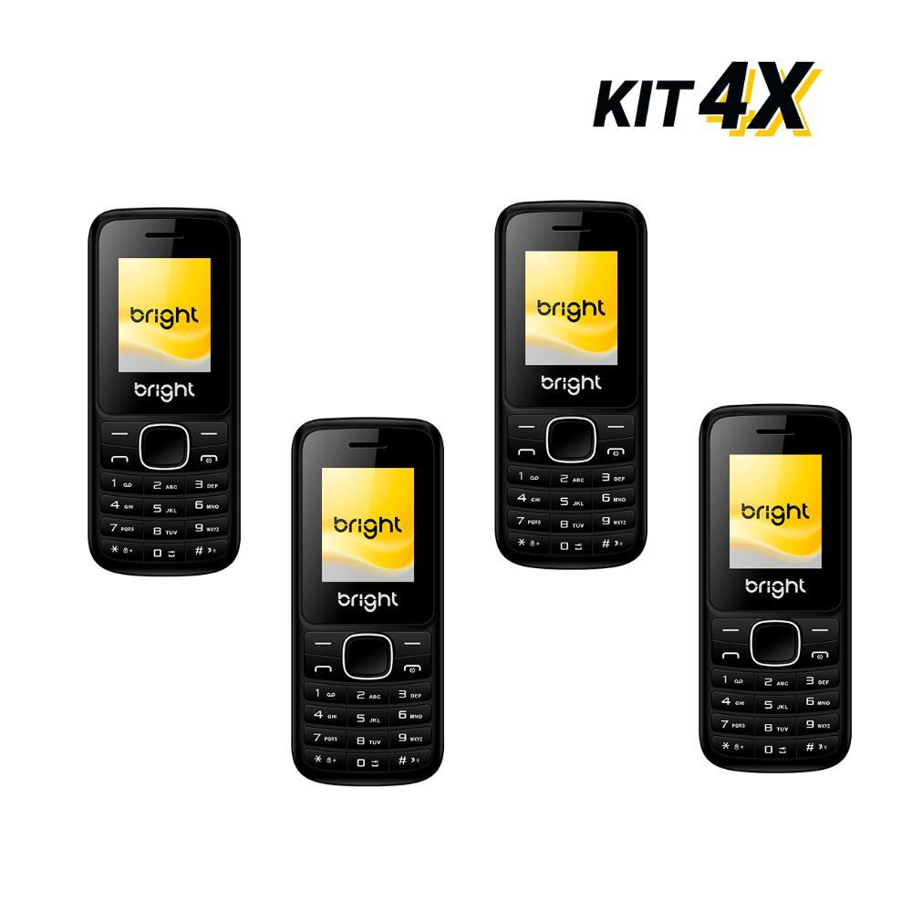 Kit 4 Celulares Barra Dual Chip Câmera MP3 e Bluetooth Preto