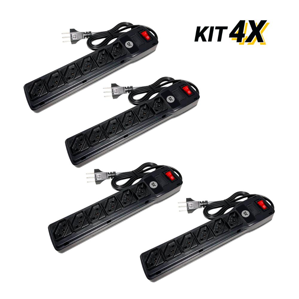 Kit 4 Filtros de Linha com 6 Tomadas e Protetor Eletrônico
