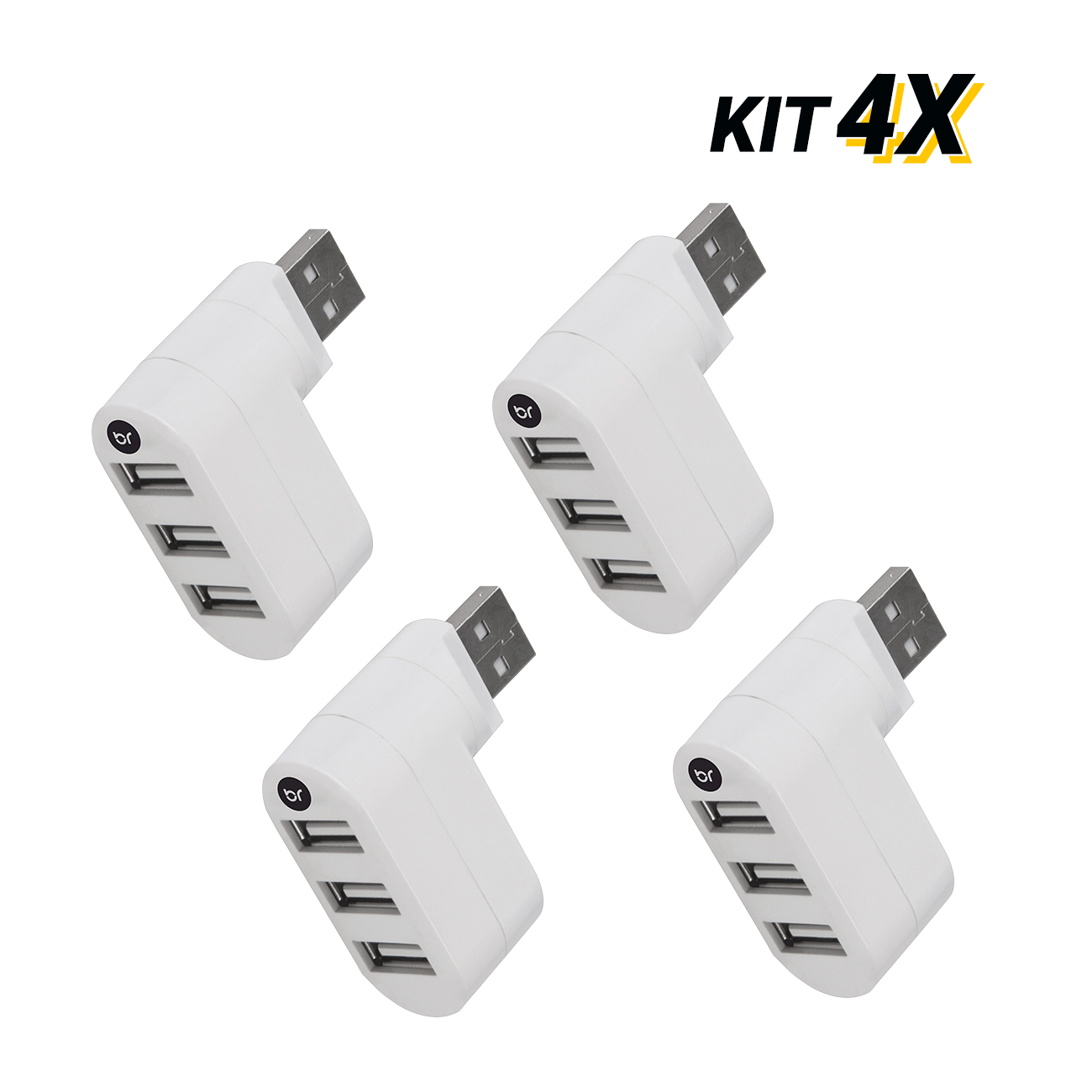 Kit 4 Mini Hub Usb Conector Giratório Com 3 Portas 2.0 Fast