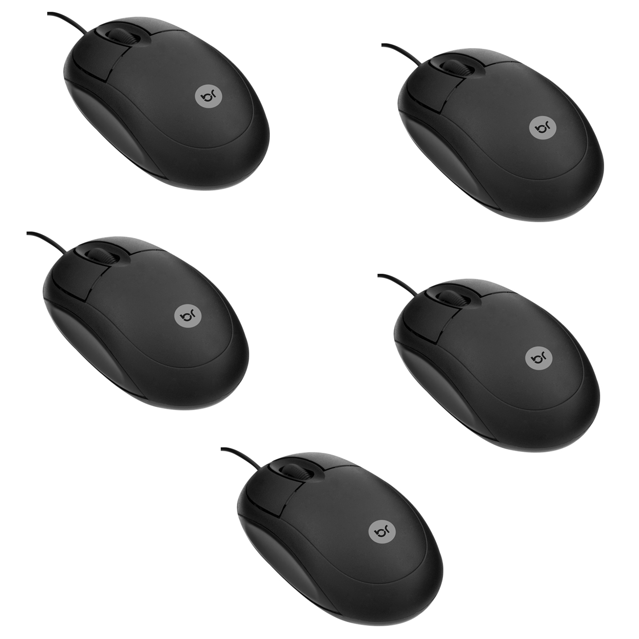 Kit 5 Mouse Óptico Usb Basic Preto 800 Dpi 106 Bright  - BRIGHT