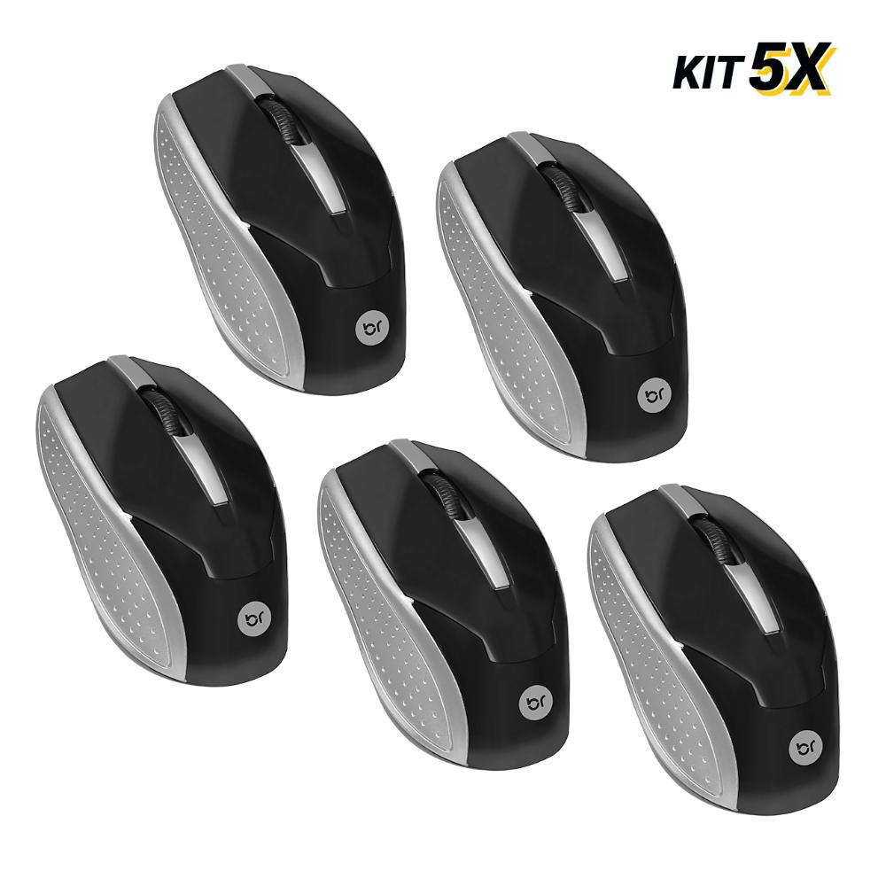 Kit 5 Mouses Usb Preto e Prata 800Dpi Bright 28  - BRIGHT