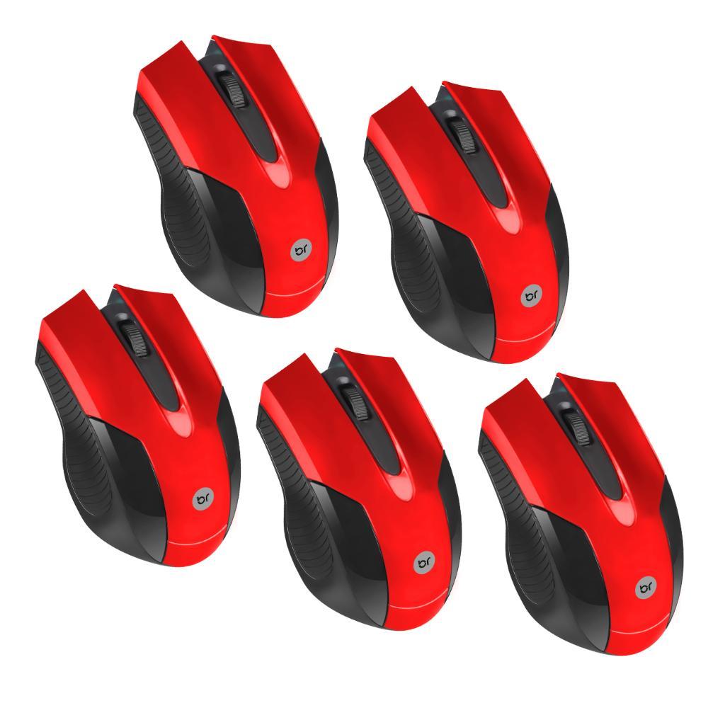 Kit 5 Mouses USB Vermelho com Design Ergonômico Bright 2210