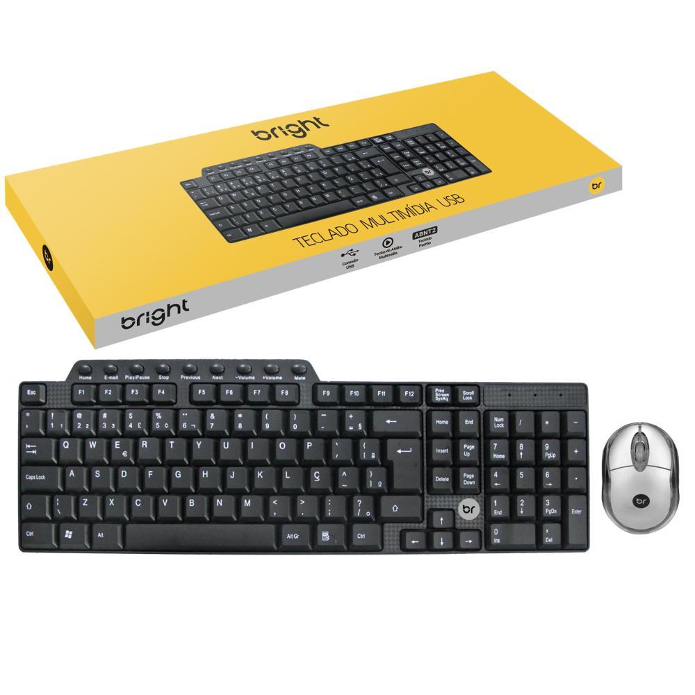 Kit Combo Office Mouse Óptico 800Dpi e Teclado Abnt2 Multimídia  - BRIGHT