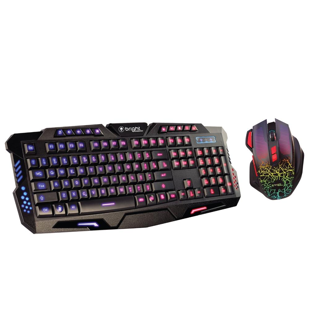 Kit Gamer Mouse e Teclado com 6 Botões com Led 3200 Dpi  - BRIGHT