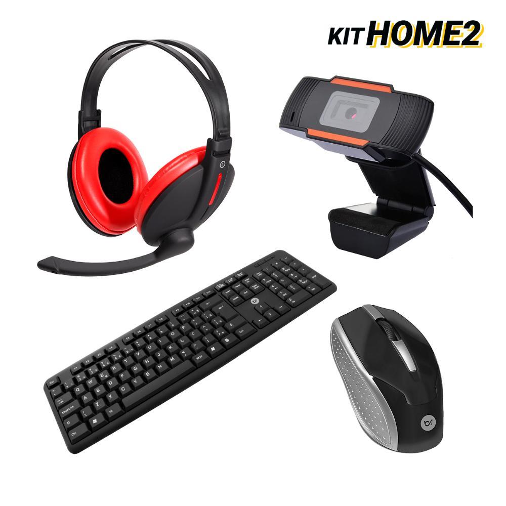 Kit Home Office Headset Bass c/ Mouse e Teclado Ubs e WebCam  - BRIGHT