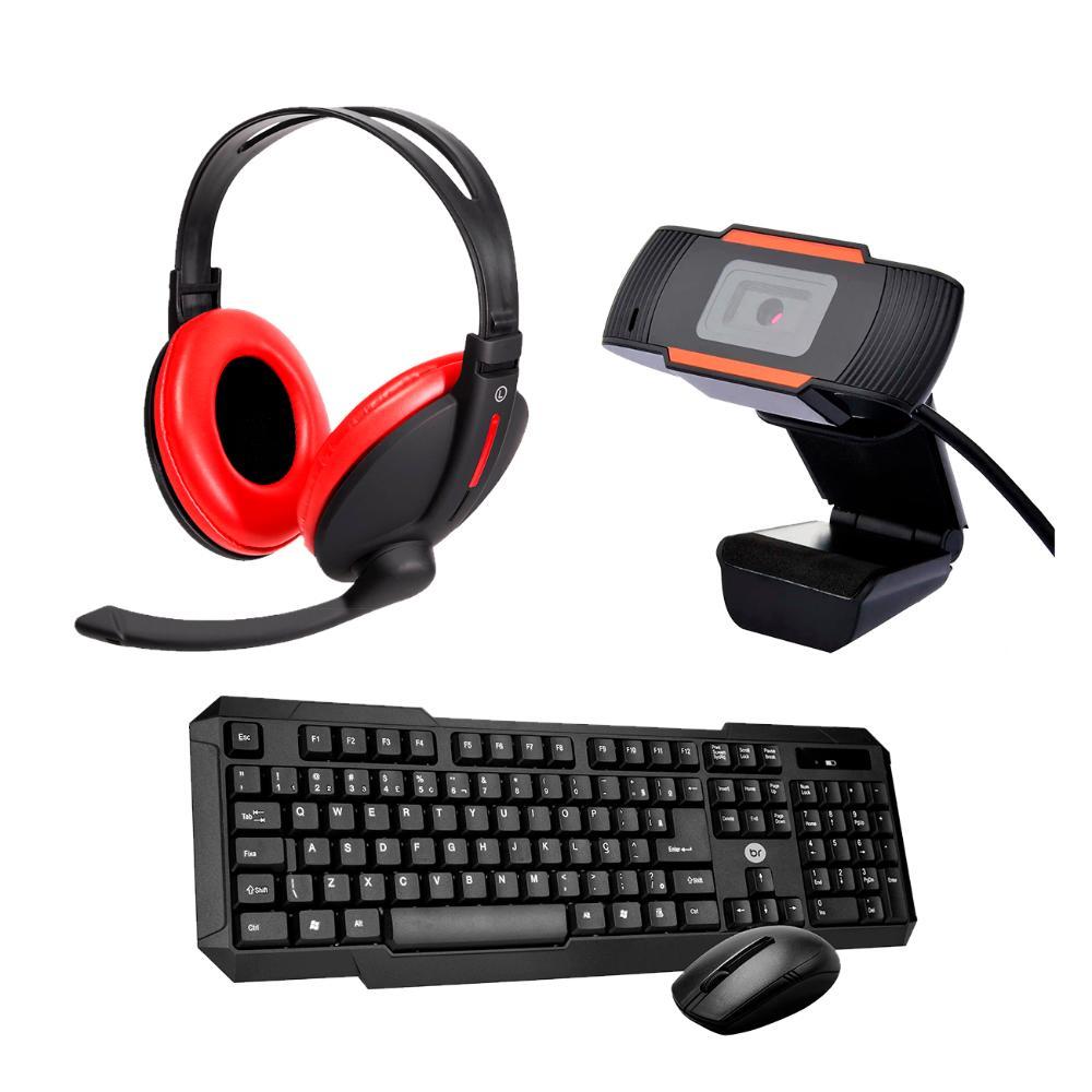 Kit Home Office Mouse e Teclado Sem Fio com WebCam e Headset  - BRIGHT