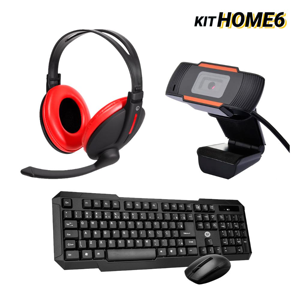 Kit Home Office Mouse e Teclado Sem Fio com WebCam e Headset