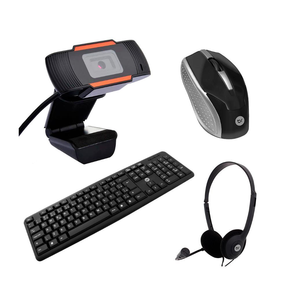 Kit Home Office Mouse e Teclado Ubs com WebCam e Headset