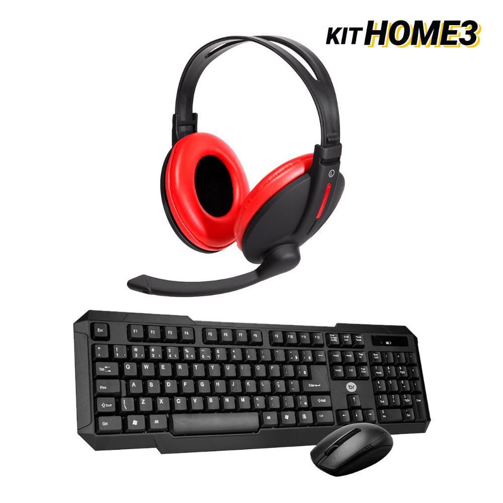 Kit Home Office Teclado e Mouse Sem Fio com Headset Bass