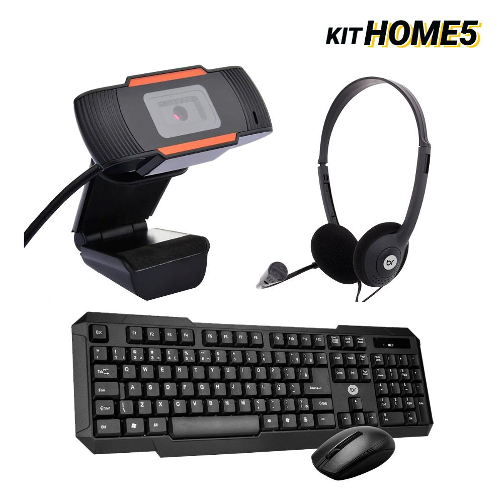 Kit Home Office Teclado e Mouse Sem Fio com WebCam e Headset