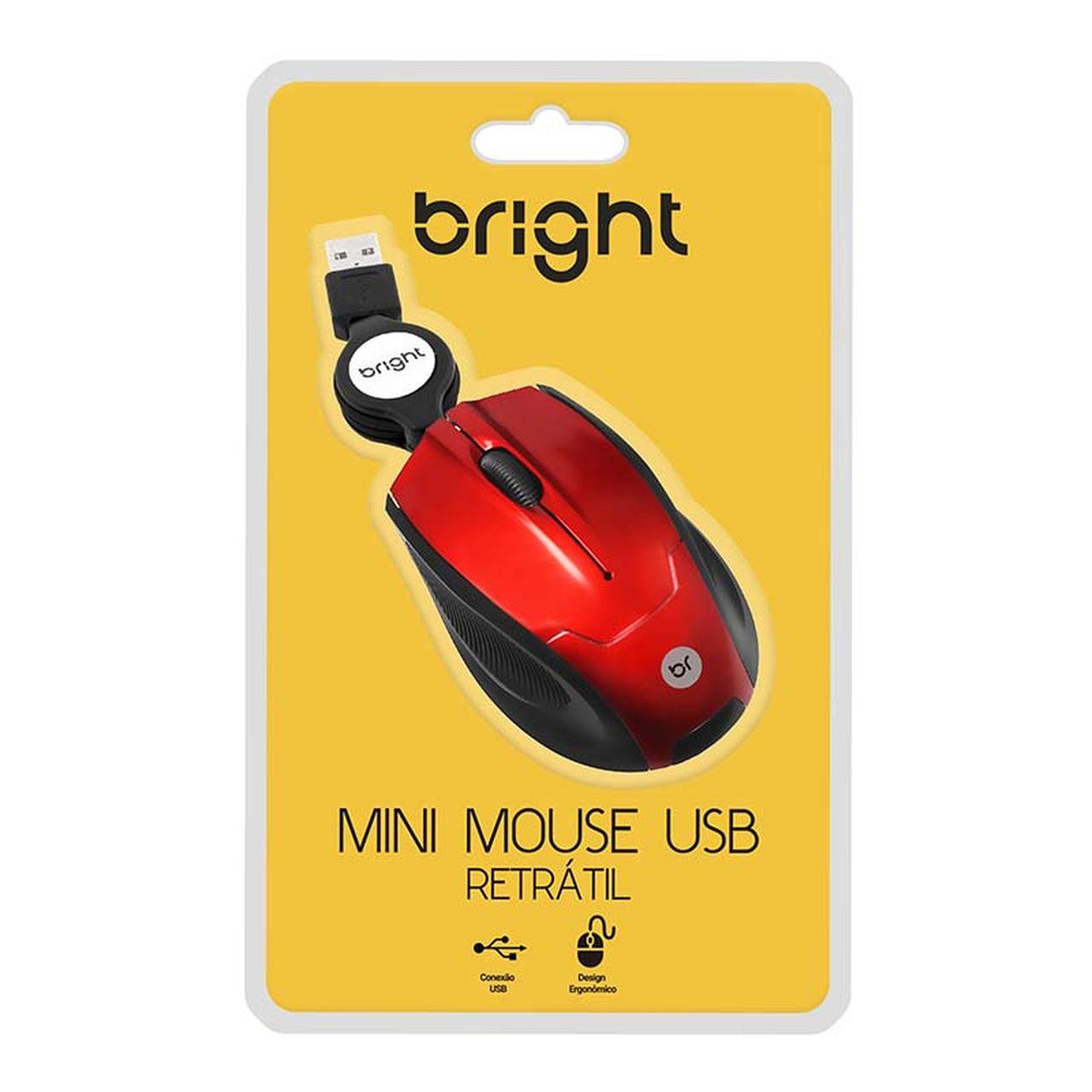 Mini Mouse Cabo Retrátil USB Vermelho 101 - Bright