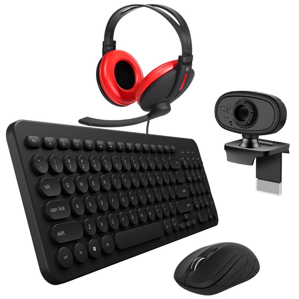 Mouse e Teclado Sem Fio Tecla Redonda c/ Webcam HD e Headset  - BRIGHT
