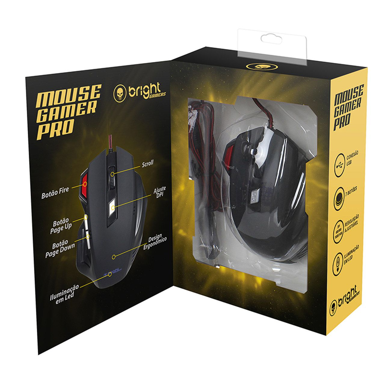 Mouse Gamer Usb Led 7 botões Pro 465 Bright